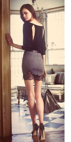 skirts too short for me, but if it was longer, i would love having the lace detail at the bottom!