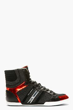 SIIICCCKKK  Y-3 Black & Red Sala High-top Sneakers for men | SSENSE