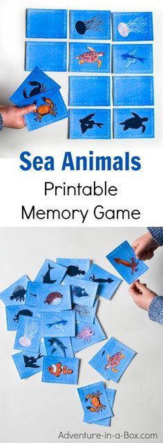 Sea Animals Printable Memory Matching Game for Kids : Sea animals printable memory game for kids. A fun matching game with 3 levels of complexity for different ages. Great for studying ocean with preschoolers as well as K Animals Printable Memory Animal Activities For Kids, Sea Activities, Kids Animals, Animal Games, Water Animals Preschool, Ocean Animals For Kids, Animals Sea, Camping Activities, Summer Activities