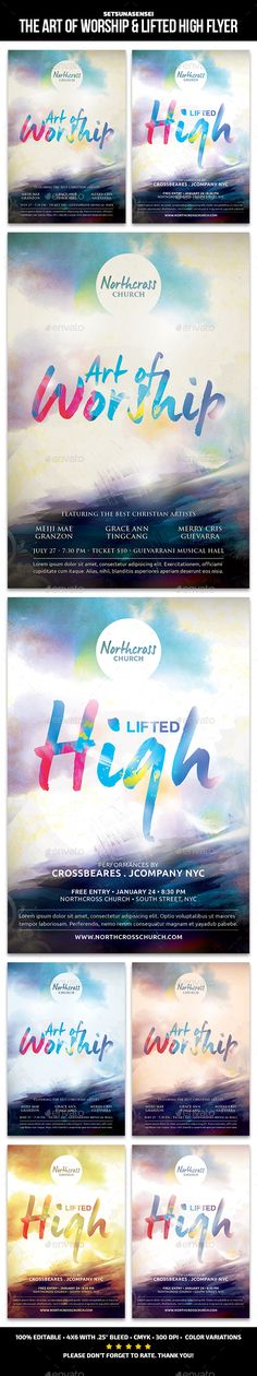 The Art of Worship & Lifted High Church Flyer — Photoshop PSD #messages #lifted high • Available here → https://graphicriver.net/item/the-art-of-worship-lifted-high-church-flyer/14067841?ref=pxcr