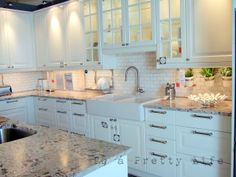 To A Pretty Life: Ikea kitchen. this kitchen is seriously almost perfect for my parents house! Would prefer darker color not white Kitchen Ideas Usa, Small Kitchen Inspiration, Ikea Kitchen Design, New Kitchen, Kitchen Dining, Kitchen Decor, Kitchen Cabinets, Glass Cabinets, Glass Shelves