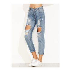 SheIn(sheinside) Blue Distressed Ripped Cuffed Jeans (6.105 HUF) ❤ liked on