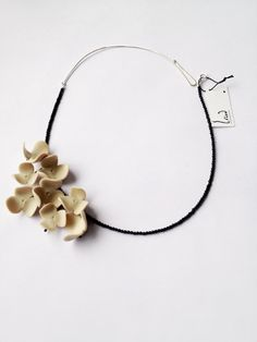 minimal chic polymer clay flowernecklace/nO.215 Jasmines by eried (would like to try this in porcelain)