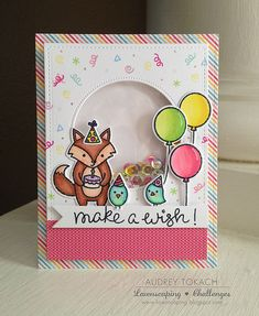 Lawnscaping Challenge: Lawn Fawn Party Animal Make a Wish Shaker card by Audrey Tokach.