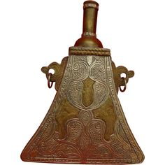 Arab Powder Flask Silver and Brass c. Decorative Bells, Flask, Metal Working, Muslim, Antiques, Silver, Design, Pears, Metalworking