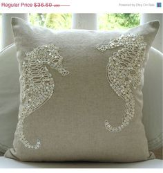 MOTHERS DAY SALE Sea Horse Pearls   Throw Pillow by TheHomeCentric