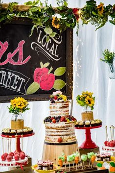 Loving the naked tiered birthday cake at this Farmers Market 1st Birthday Party!! See more party ideas and share yours at CatchMyParty.com #nakedcake #birthdaycake