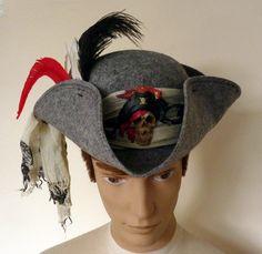 Grey Pirate TricornPirate hatCaptain HookJack by LulunaClothing