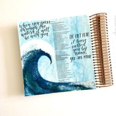 Scribbling Grace Bible Journaling Tutorial- Easy Watercolor and Acrylic Wave Bible Drawing, Bible Doodling, Bible Art, Bible Verses, Book Art, Isaiah Bible, Psalm 46, Wave Illustration, Verses About Love