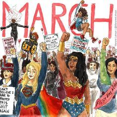 Thanks to all the heroines who marched, and to those who couldn't walk but whose hearts were marching. You made History. ♀⚥⚨⚧ #WomensMarch #Feminism #Women #MaryneArt