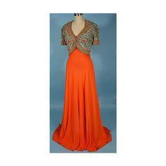 Antique Dress - Item for Sale ❤ liked on Polyvore featuring dresses, vintage, vintage dresses, antique dress, vintage day dress, orange dress and vintage orange dress