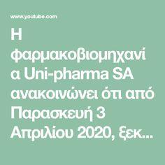 Η φαρμακοβιομηχανία Uni-pharma SA ανακοινώνει ότι από Παρασκευή 3 Απριλίου 2020, ξεκίνησε η διάθεση του φαρμάκου Unikinon (χλωροκίνη) σε όλα τα νοσοκομεία αν... Uni