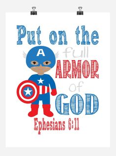 African American Captain America Christian Superhero Wall Art Nursery Decor Print - Jesus Is The Captain Of Our Salvation - Hebrews Bible Verse - Multiple Sizes Superhero Classroom Theme, Superhero Wall Art, Classroom Themes, Nursery Wall Art, Nursery Decor, Christian Decor, Christian Kids, Church Nursery, Armor Of God