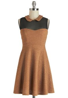 Lunch Club Dress: Even though this paper bag-brown dress is crinkly-cute  skip the classic packed lunch its evocative of and enjoy a specialty sandwich out with your best friends…    #1960s #60s #Retro #Vintage #LunchClubDress, #ModCloth, #Orange