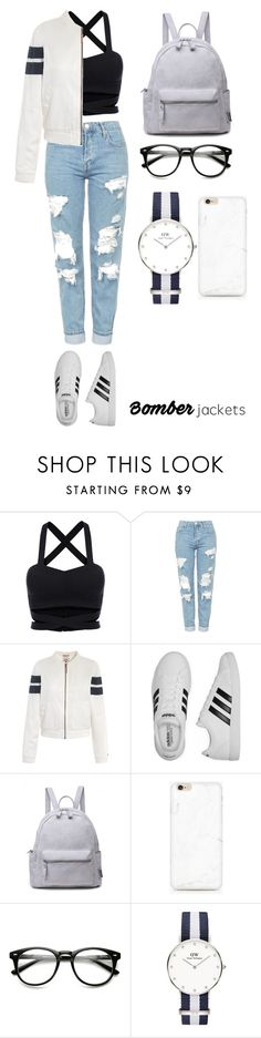 """""""simple2"""" by cindyvirgantari on Polyvore featuring Topshop, Tommy Hilfiger, adidas, Daniel Wellington and bomberjackets"""