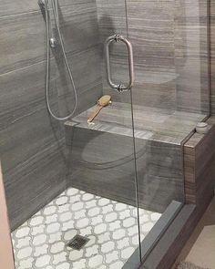 White Thassos and Bianco Carrara Marble Waterjet Mosaic Tile in Arabesque Marrakech Bathroom Floor Tiles, Shower Floor, Walk In Shower, Bathroom Wall, Modern Bathroom, Small Bathroom, Bathroom Ideas, Rental Bathroom, Marble Bathrooms
