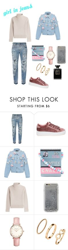 """""""Girl In Jeans"""" by ts98 on Polyvore featuring Dolce&Gabbana, Steve Madden, Anouki, Olympia Le-Tan, Vanessa Seward, Agent 18, Topshop, H&M, Chanel and jeans"""
