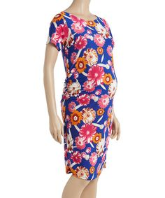 Blue & Pink Floral Ruched Bow-Back Maternity Sheath Dress #zulily #zulilyfinds