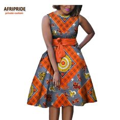 2017 autumn women african dress AFRIPRIDE private custom sleeveless knee-length A-Line pleated casual dress pure cotton Short African Dresses, African Fashion Designers, Latest African Fashion Dresses, African Print Dress Designs, African Print Clothing, African Print Fashion, Kitenge, African Fashion Traditional, Shweshwe Dresses
