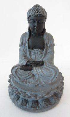 Beeld - Meditatie boeddha - hematite - op lotus -5 cm