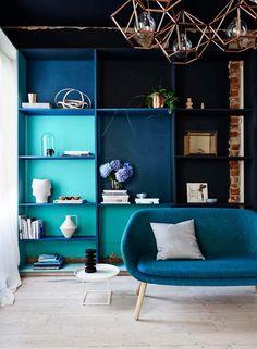 Blue sofa - blue interior design ideas