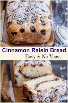 Easy Cinnamon Raisin Bread is a no yeast quick loaf, with a delicious brown sugar and cinnamon filling and topping with a sprinkle of raisins. via easy 3 ingredients easy for a crowd easy healthy easy party easy quick easy simple Raisin Cake, Raisin Muffins, Recipes With Yeast, Easy Bread Recipes, Cinnamon Recipes, Quick Bread, Cinnamon Desserts, Muffin Recipes, Baking Recipes