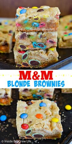 M&M Blonde Brownies - these soft and chewy cookie bars are loaded with lots of M&M candies! Make this easy recipe for any party, picnic, or bake sale. They are also perfect for after school snacks or lunch boxes! # Easy Recipes snacks M&M Blonde Brownies Brownie Desserts, Brownie Recipes, Easy Desserts, Cookie Recipes, Delicious Desserts, Yummy Food, Easy Dessert Bars, Recipe Treats, Picnic Desserts