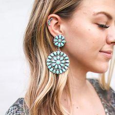 Cluster Earrings, Stud Earrings, Turquoise Earrings, Jewels, Sterling Silver, Pretty, Flowers, Gifts, Gift Ideas