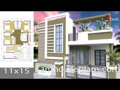 House design with 3 bedrooms Terrace roofThe House has:-Car Parking and garden-Living room,-Dining Bedrooms, 3 bathrooms Single Floor House Design, House Front Design, Modern House Design, Door Design, Simple House Plans, Beautiful House Plans, Model House Plan, Latest House Designs, Bungalow House Design