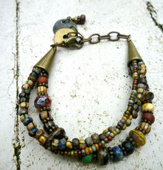 Love the earthy feel of this color mix. ~ Picasso Jamaica Mix Czech Picasso glass by McKeeJewelryDesigns
