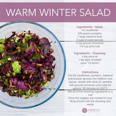 Who said salad had to be served cold and made of lettuce? We put a winter twist on salad with this delicious recipe. Winter Salad, Salad Ingredients, Beetroot, Lettuce, Bobs, Sprouts, Cauliflower, Mustard, Cabbage