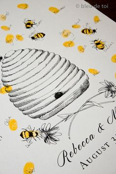 Honey Bee Hive with thumbprint bees, Guest book fingerprint alternative art… Alternative Kunst, Thumbprint Guest Books, Honey Bee Hives, Balloons And More, Fingerprint Tree, Wedding Guest Book Alternatives, Wedding Ideas, Teacher Appreciation Gifts, Ink Pads