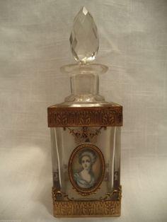 Vintage French Baccarat Crystal Perfume Bottle Ormolu Handpainted Cameo Portrait | eBay
