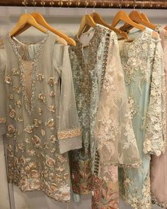 """""""Pastels done right by ✔️ get your hands on these at her Shadi Dresses, Pakistani Formal Dresses, Pakistani Party Wear, Pakistani Wedding Outfits, Pakistani Couture, Pakistani Dress Design, Indian Dresses, Indian Outfits, Stylish Dresses"""