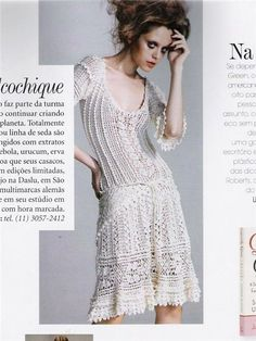 Crinochet: Vanessa Montoro's Charlotte Dress - with all the diagrams at source Mode Crochet, Crochet Art, Crochet Woman, Knit Or Crochet, Irish Crochet, Freeform Crochet, Crochet Poncho, Crochet Tops, Crochet Motif
