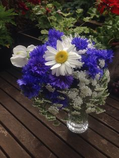 Garden posy. July 13th 2014.  Ammi, cornflower & sweet pea all grown from seed.