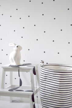 PFR Design - Inspired Living loves this polka dot wallpaper and bunny night light. So charming.