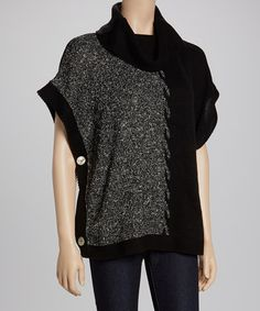 Take a look at this Black & White Intarsia Cowl Neck Poncho by Armand & Alba on #zulily today! $24 !!