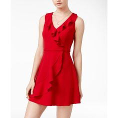 Teeze Me Juniors' Ruffled Wrap Dress ($59) ❤ liked on Polyvore featuring dresses, red, tulip wrap dress, ruffle wrap dress, tulip dress, ruffle dress and red dress