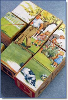 Make puzzles by gluing photos or pictures to alphabet blocks.