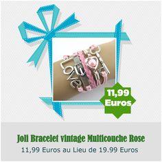 Joli Bracelet vintage Multicouche Rose
