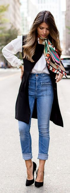 Parisian Vibes Braided Denim Pants Fall Inspo by The Girl From Panama