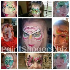 PaintSlingers.biz face painting examples collage