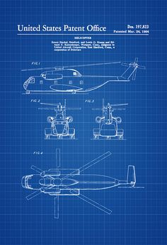 1964 Helicopter Design Patent - Helicopter Blueprint Helicopter Patent Vintage Helicopter Aviation Art Pilot Gift Aircraft Decor by PatentsAsPrints