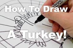 How to draw a turkey step by step for kids.