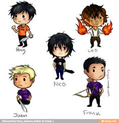The guys fr Heroes of Olympus— Percy Jackson, Leo Valdez, Nico do Angelo, Frank Zhang, and Jason Grace.