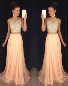 Blush Chiffon Prom Dresses,Sleeveless Long Prom Dresses,2 Pieces Prom Dress,A Line Sexy Prom Dress on Luulla #homecomingdresses