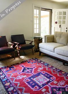 whitaker sofa with danish chairs and tribal rug