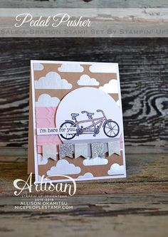 The bike in the Pedal Pusher stamp set is SO cute coloured pink! - Allison Okamitsu