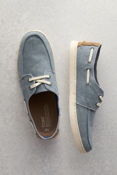 A boat-shoe inspired style designed for smooth sailing, TOMS Slate Blue Denim Men's Culver Boat Shoes.